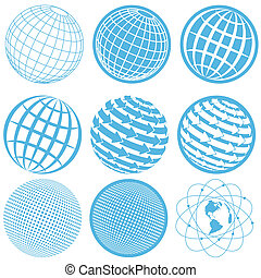 icon globe - illustration, nine blue symbols of the planet...