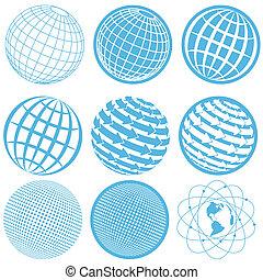 icon globe - illustration, nine blue symbols of the planet...