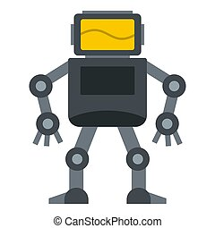 Grey robot with monitor head icon isolated