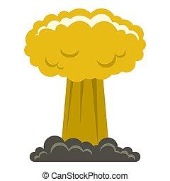 Mushroom cloud icon isolated - Mushroom cloud icon flat...
