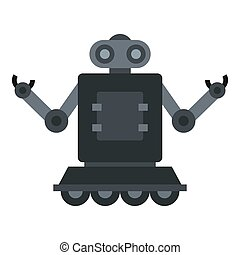Robot on wheels icon isolated