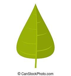 Green poplar leaf icon isolated - Green poplar leaf icon...