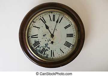 Antique Clock - Antique Fusee Clock with clipping path