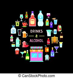 drinks and alcohol banner - Drinks banner. Design template...