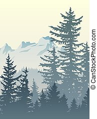 Vertical illustration of foggy forest mountains. - Vertical...