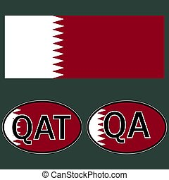 Qatar flag and sticker on the car with the acronym QA and...