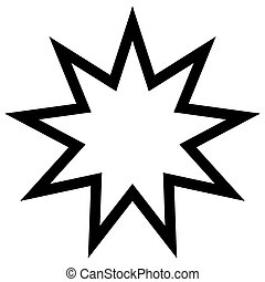 symbol Bahai star of nine angles, nine is a sacred number, a...