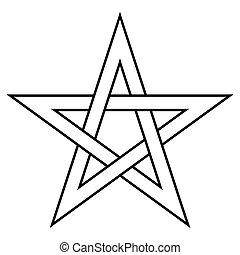 Pentagram five end star with weave sides, sector symbol dark...