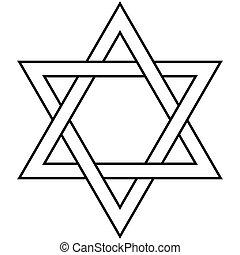 Star of David Icon Vector Symbol Israel Judaism - Star of...