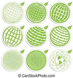 icon globe - illustration, nine green symbols of the planet...