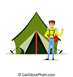Smiling man with a backpack standing near a tourist tent. Summer camping colorful cartoon character vector Illustration