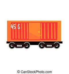 Orange cargo wagon. Colorful cartoon illustration - Orange...