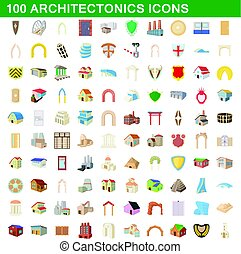 100 architectonics icons set, cartoon style - 100...