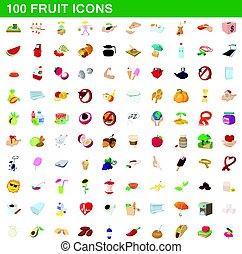 100 fruit icons set, cartoon style - 100 fruit icons set in...