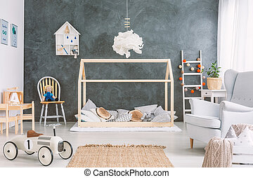 Cosy childs room with many toys
