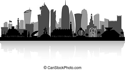 Doha Qatar city skyline silhouette - Doha Qatar city skyline...