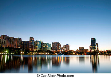 Orlando Florida Downtown Skyline at Night