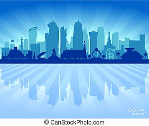 Doha Qatar city skyline vector silhouette illustration