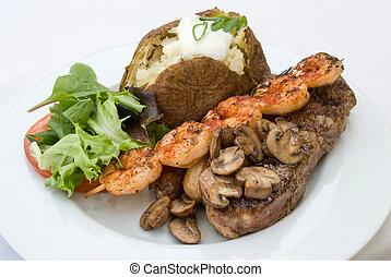 Stake and Shrimp Dinner - Gourmet dinner of Steak, grilled...