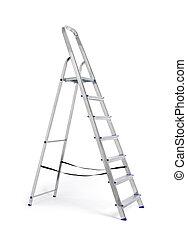 Step ladder - A new metallic step ladder isolated on white...