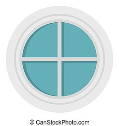 White round window icon isolated - White round window icon...