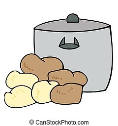 Cooking pot with potatoes.
