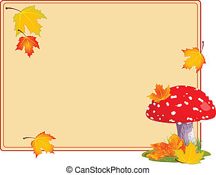 Fly agaric autumn background - Fly agaric in a grass. Autumn...
