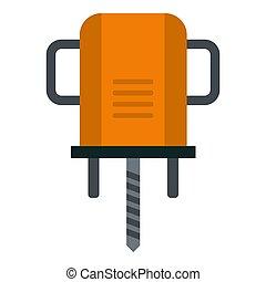 Orange boer drill icon isolated - Orange boer drill icon...