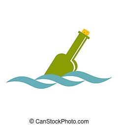 Glass green bottle in a water icon isolated - Glass green...