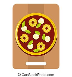 Pizza with ingredients on the wooden board icon