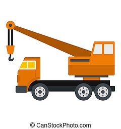 Orange truck crane icon isolated - Orange truck crane icon...