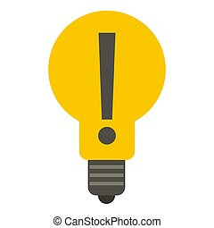 Yellow bulb with exclamation mark inside icon - Yellow light...