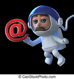 3d Funny cartoon astronaut floats in space with an email...