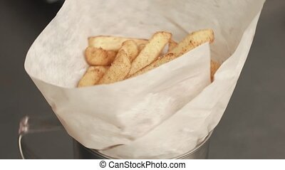 Frenches fries with golden crust.