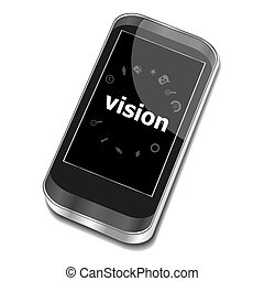 Text Vision. Business concept . Smartphone with business web icon set on screen