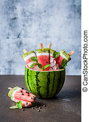Watermelon, Coconut and Kiwi Popsicles - Striped Watermelon,...