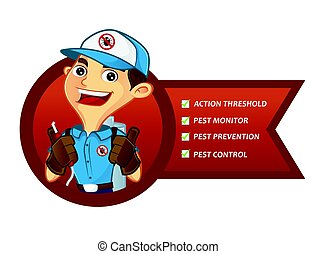 Exterminator services list isolated in white background