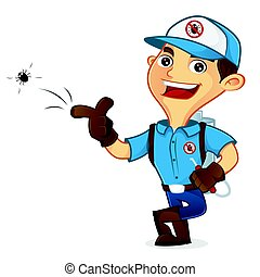 Exterminator killing bug and leaning isolated in white...
