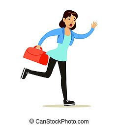 Girl running with suitcase late for flight. Colorful cartoon character vector Illustration
