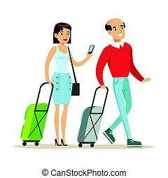 Couple with suitcases traveling. Family traveling colorful cartoon character vector Illustration