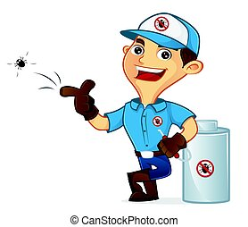 Exterminator leaning on pest sprayer isolated in white...
