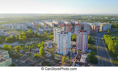 Multi-Storey Residential Buildings at dawn