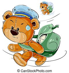 Vector illustration of a brown teddy bear postman hurrying, carrying a bag with letters