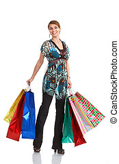 Shopping woman smiling Isolated over white background