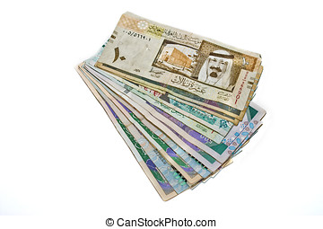 Saudi Currency - Saudi Riyals isolated on a white background