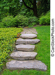 Large Rock Stone Steps and Flagstone Garden Path - Large...