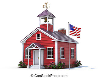 School house and american flag over white background