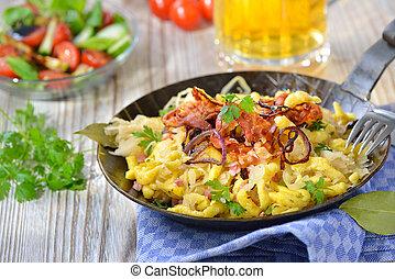 Spaetzle with sauerkraut - Swabian spaetzle with sauerkraut,...