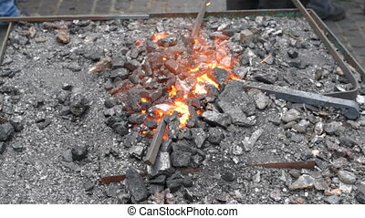 Blacksmith fire with hot metal. metal forging, Forging hot...