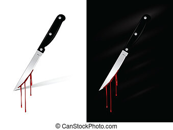 Kitchen knife with blood